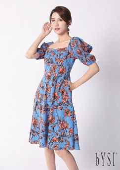 French Floral Print Dress