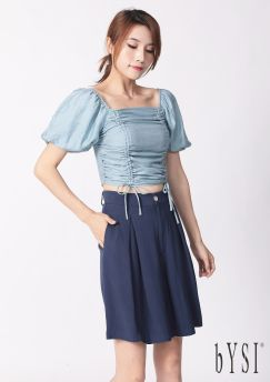 Ruched Puff Sleeved Crop Top