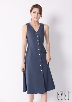 Buttoned Front Solid Midi Dress